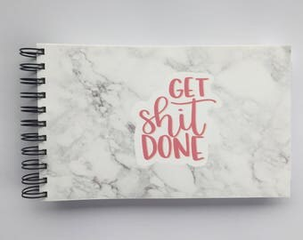 WIDE Undated SASSY Planner - One Year Fill in Calendar Notebook - Get Shit Done Marble Weekly Planbook - Monthly Weekly Schedule