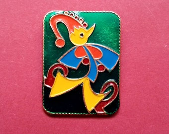 Clown Pin, Petrushka. Vintage collectible badge, Russia, Soviet Union, Made in USSR, 1980s