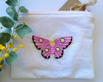 Pink moth embroidered zipper pouch