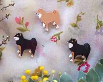 Black and white dog brooch