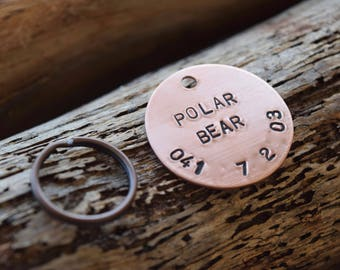 Hand Stamped Personalized Custom Copper Pet Tag - Dog Tag - Cat Tag - Pet Tag - Personalised - Custom ID Pet Tag - Dog Hand Stamped Tag
