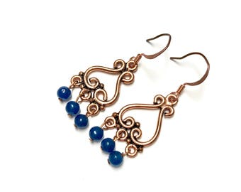 Blue and Copper Dangle Earrings