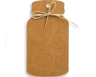 Mason Jar Tag with Twine - Pack of 12