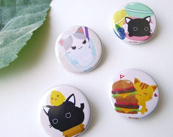 Purrballs Cat Themed Pinback Button / Badges