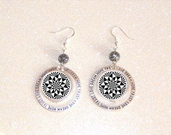 hoop earrings silver cabochon black and white geometric patterns