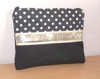 cotton bag Pouch Black polka dots, glitter