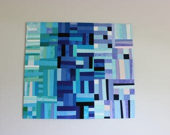 "Modern Handmade Improv Patchwork Wall Hanging, ""Striations"" in Blue, Green, Lavender 36"" x 31"" Abstract Textile, Contemporary Fiber Art,"
