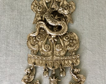 """Reserved 6"""" Long DRAGON BUDDHA CHARMS Breastplate Pendant Chain Necklace Silver Metal Vintage Rare Designer Runway Couture Chinese Oriental"""