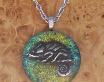 Orgone Energy Cosmic Chameleon Green/Turquoise/Blue Unisex Pendant Necklace harmonizing crystals Moldavite Tourmaline 27mm