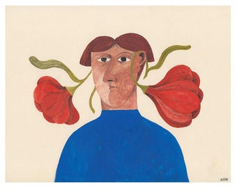 Woman with Flowers Print