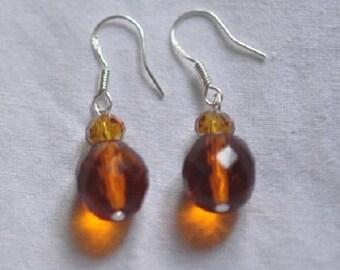Swarovski and glass Silver 925 pierced earrings