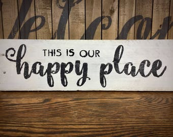 This is Our Happy Place Sign, Rustic Farmhouse Pallet Bedroom Signage, Cursive Black and White Wall Art, Reclaimed Wooden Home Accent