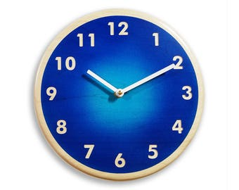 Wood wall clock. Contemporary wall clock. Blue wall clock. 10 inch wall clock.  Deep blue and light blue airbrushed colors. CL4016