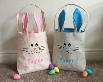 Personalized easter basket etsy uk personalised cute bunny face ear bag easter bunny bag easter basket childrens negle Choice Image