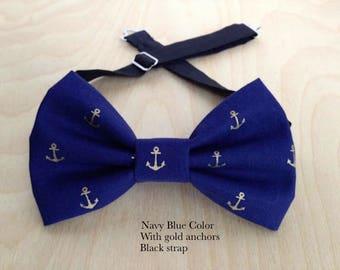 Navy anchors bowtie.Wedding bow tie. Navy blue bow tie