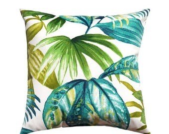 Superb SALE Outdoor Tropical Pillow, Green Outdoor Pillow, Aqua Accent Pillow,  Teal Patio Pillow