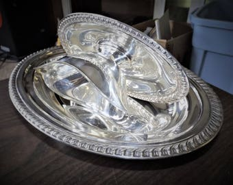 Antique Silver, Silver Gravy Boat, Silver Serving Bowl, Serving Set, Attached Tray, Silver Bowl, Wedding, Silver Serving Dish, Art Nouveau