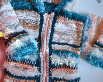 KNITTED coat turquoise LISA 6 years