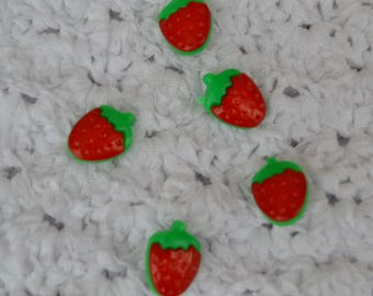 set of 5 buttons baby strawberries 18 mm