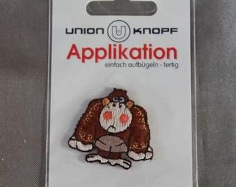 applique animal, monkey, Brown, bonding, iron or sew