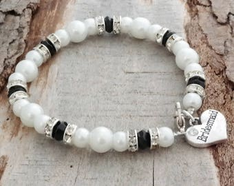 SALE - Bridesmaid Personalized Beaded Pearl and Crystal Bracelet