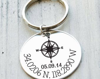 Special Place Latitude Longtitude Personalized Key Chain - Engraved