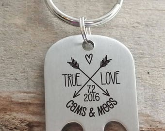 True Love Arrows Couple Engraved Personalized Bottle Opener Key Ring
