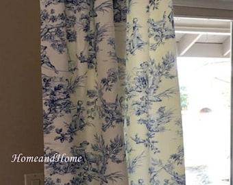 Summer SALE Toile drapery 50W panels designer curtains 50 x 84 108 cobalt blue ivory toile drapery long curtain blue toile curt