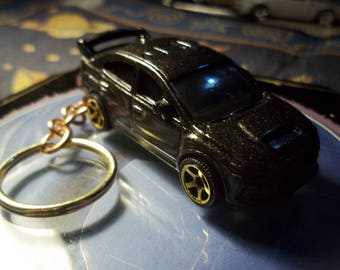 custom made keychain,2015 suburu wrx sti,metallic black w/3/4 limo tint glass-gold mags/hand made chain and jumprings-repaint-mint