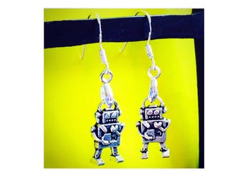 Robot Earrings, 925 Sterling Silver Wires
