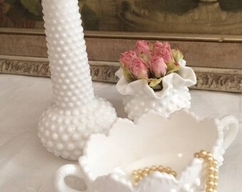 Lovely Trio Set of Hobnail Milk Glass