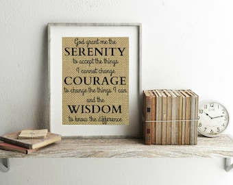 Serenity Prayer Burlap Print - Serenity Prayer Wall Art - God Grant Me The Serenity - Serenity Prayer Print - Serenity Prayer Sign