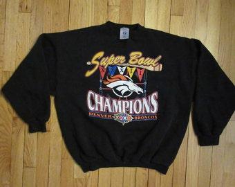 Rare Vintage 90's Denver Broncos Super Bowl Champions Black Crewneck Sweatshirt X-Large
