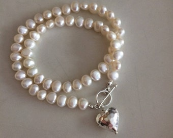 White Baroque Freshwater Pearl necklace with Sterling hammered heart and toggle - June Birthstone jewellery gift