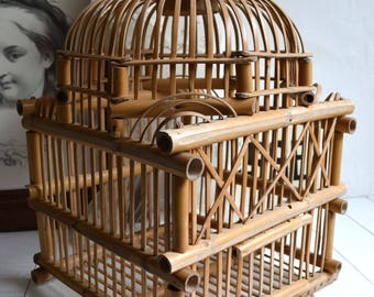 Vintage Bamboo Domed Bird Cage