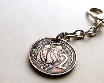 Coin charm, New Zealand, Flower charm, Flower keychain, Kowhai flower, Coin keychain, Purse charm, Handbag charm, Coin, Charm, Flowers, 1987