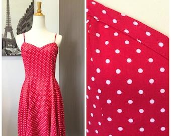 90s Retro Vintage Red Polkadot Dress
