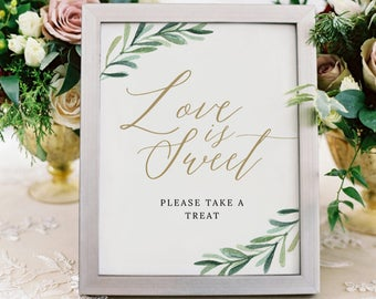 Love is Sweet Sign, Love is Sweet Printable, Dessert Table Sign, Please Take a Treat, Wedding Signs, #SG
