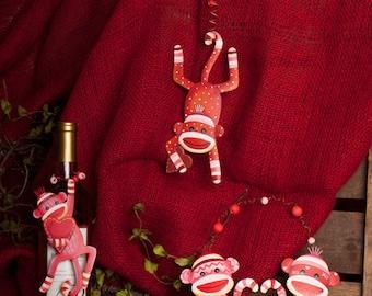 "Valentine's Day Sock Monkey""s -SET OF 6 / Wreath Supplies/Valentine's Decoration/V7016"