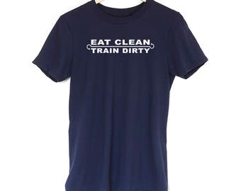 Eat Clean Train Dirty Men's Boys T-Shirt Funny Gym Fitness Best Gift