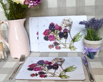 Mouse and berries Set of four placemats