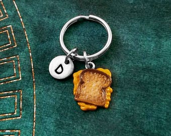 Grilled Cheese Keychain VERY SMALL Grilled Cheese Sandwich Keyring Food Keychain Pendant Keychain Personalized Letter Keychain Painted Charm