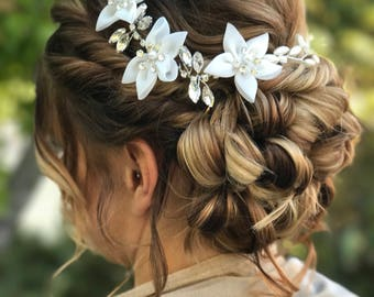 Flower Hair Accessory, Flower Hair Vine, Bridal Flower Headband, Bridal Flower Crown, flower vine, Bridal Headband
