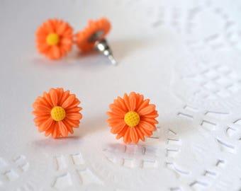 stud earrings flower earrings bridesmaids gift small earrings birthday presents birthday anniversary tiny earrings new mum gift orange stud