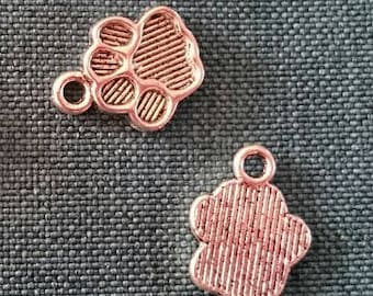 Set of 2 silver paw print charms Tibetan