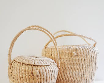 Vintage Wicker Storage Baskets, Set of 2, Decorative Baskets, Large Lidded Storage Baskets, 1970s Bohemian Home Decor & Storage, Moroccan
