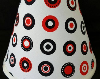 Red, White and Black Dot Lamp Shade