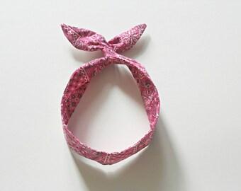 Pink Bandana Print Baby Wired Headband, Toddler Wired Headband, Kid's Wired Headband, Baby Turban Headband, Baby Toddler Dolly Bow