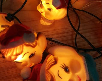 Elf Lights Set of 10 Christmas Lights 1950's Vintage all in Working Order