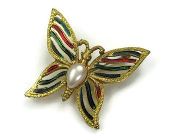 Vintage Faux Pearl Enamel Butterfly Brooch